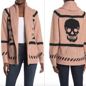 $598NWT 360 Sweater Skull Print Cardigan XS Alpaca